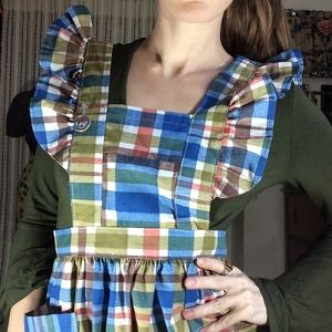 Vintage Dresses - Adorable Plaid Apron Dress Dolly Ruffle Sleeves